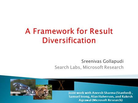 A Framework for Result Diversification