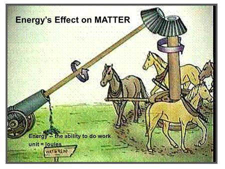 Energys Effect on MATTER Energy -- the ability to do work unit = joules.