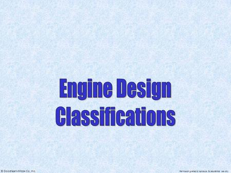 Engine Design Classifications.