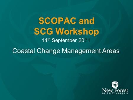 SCOPAC and SCG Workshop 14 th September 2011 Coastal Change Management Areas.