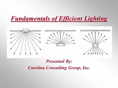 Fundamentals of Efficient Lighting Presented By: Carolina Consulting Group, Inc.