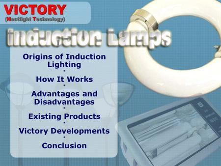 Origins of Induction Lighting * How It Works * Advantages and Disadvantages * Existing Products * Victory Developments * Conclusion.