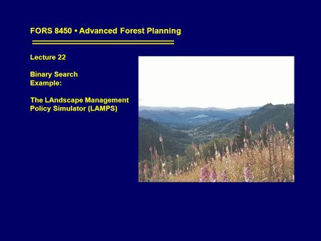 FORS 8450 Advanced Forest Planning Lecture 22 Binary Search Example: The LAndscape Management Policy Simulator (LAMPS)