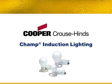 Champ ® Induction Lighting. Champ ® Induction Lighting – Table of Contents Product Family Overview Champ Induction Lighting System Components How Induction.