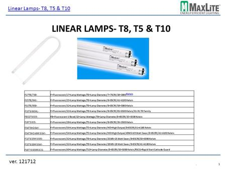 ENERGY EFFICIENT LIGHTING LINEAR LAMPS- T8, T5 & T10 ver. 121712 Linear Lamps- T8, T5 & T10.1.1 F17T8/730-F=Fluorescent/17=Lamp Wattage/T8=Lamp Diameter/7=75CRI/30=3000.