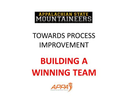 TOWARDS PROCESS IMPROVEMENT BUILDING A WINNING TEAM.