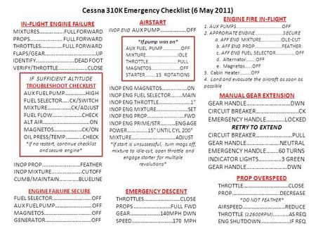 Cessna 310K Emergency Checklist (6 May 2011)