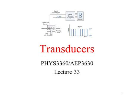 Transducers PHYS3360/AEP3630 Lecture 33 1. Terminology Transducers convert one form of energy into another Sensors/Actuators are input/output transducers.