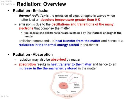 Radiation: Overview Radiation - Emission Radiation - Absorption