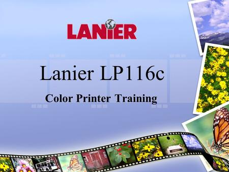 Lanier LP116c Color Printer Training. Terminology 1. Main Output Tray 2. Toner Cartridge Cover 3. Control Panel & Display Screen 4. Front Cover 5. Manual.