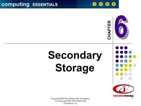 Computing ESSENTIALS CHAPTER Copyright 2003 The McGraw-Hill Companies, Inc.Copyright 2003 The McGraw-Hill Companies, Inc. 1 66 Secondary Storage computing.