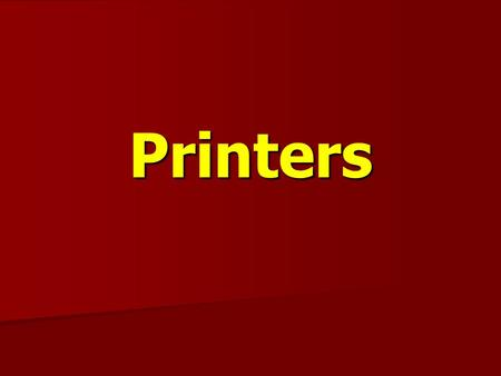 Printers. The printer is computer peripheral, & output device that accepts text and graphic as input, & prints or illustrations on paper as a hard copy.