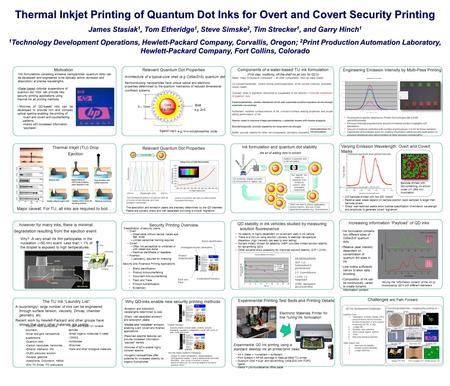 Thermal Inkjet Printing of Quantum Dot Inks for Overt and Covert Security Printing James Stasiak1, Tom Etheridge1, Steve Simske2, Tim Strecker1, and Garry.