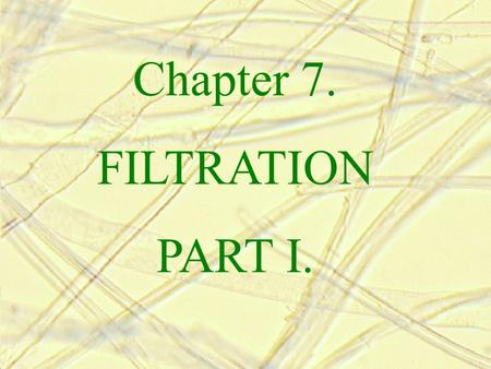 Chapter 7. FILTRATION PART I..