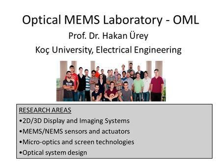 Optical MEMS Laboratory - OML
