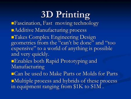 3D Printing Fascination, Fast moving technology Fascination, Fast moving technology Additive Manufacturing process Additive Manufacturing process Takes.