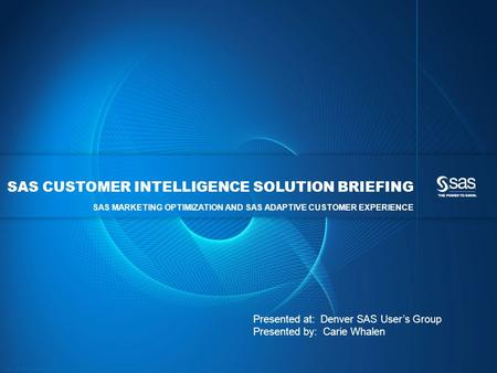 Copyright © 2012, SAS Institute Inc. All rights reserved. SAS CUSTOMER INTELLIGENCE SOLUTION BRIEFING SAS MARKETING OPTIMIZATION AND SAS ADAPTIVE CUSTOMER.