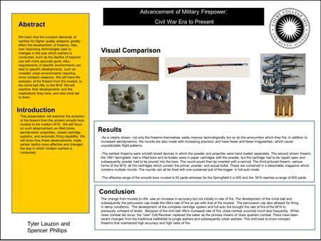 Advancement of Military Firepower: Civil War Era to Present Abstract Introduction Visual Comparison Conclusion Results Tyler Lauzon and Spencer Phillips.