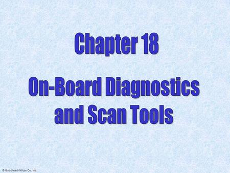 Chapter 18 On-Board Diagnostics and Scan Tools.