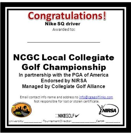 contact info name and address to Not responsible for lost or stolen certificate. Nike SQ driver Awarded.