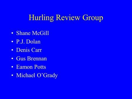 Hurling Review Group Shane McGill P.J. Dolan Denis Carr Gus Brennan Eamon Potts Michael OGrady.