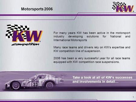 1 Motorsports 2006 For many years KW has been active in the motorsport industry developing solutions for National and International Motorsports Many race.