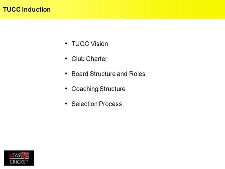 TUCC Induction TUCC Vision Club Charter Board Structure and Roles Coaching Structure Selection Process.