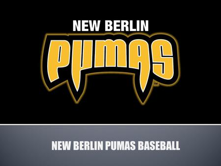 NEW BERLIN PUMAS BASEBALL. All teams play in the MAJORs.