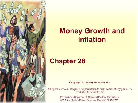 Money Growth and Inflation Chapter 28 Copyright © 2001 by Harcourt, Inc. All rights reserved. Requests for permission to make copies of any part of the.