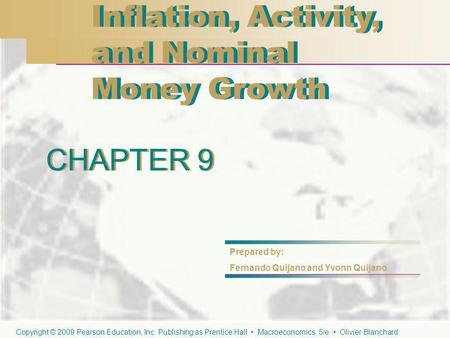 CHAPTER 9 Inflation, Activity, and Nominal Money Growth Inflation, Activity, and Nominal Money Growth CHAPTER 9 Prepared by: Fernando Quijano and Yvonn.