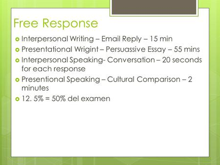 Free Response Interpersonal Writing – Email Reply – 15 min Presentational Wrigint – Persuassive Essay – 55 mins Interpersonal Speaking- Conversation –
