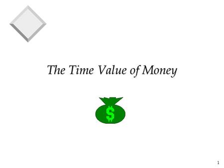 1 The Time Value of Money. 2 What is Time Value? v a dollar received today is worth more than a dollar to be received tomorrow v That is because todays.