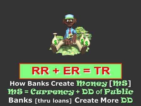 How Banks Create Money [ MS ] MS = Currency + DD of Public Banks [thru loans] C reate M ore DD.