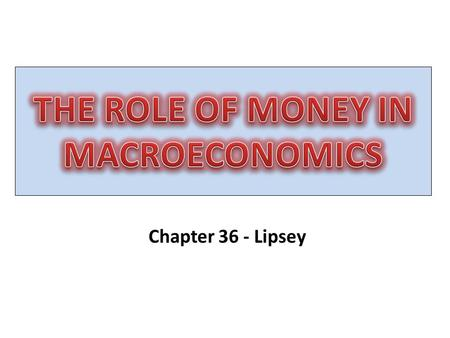 Chapter 36 - Lipsey. FINANCIAL ASSETS WealthBonds Interest earning assets Claims on real capital Money Medium of exchange.