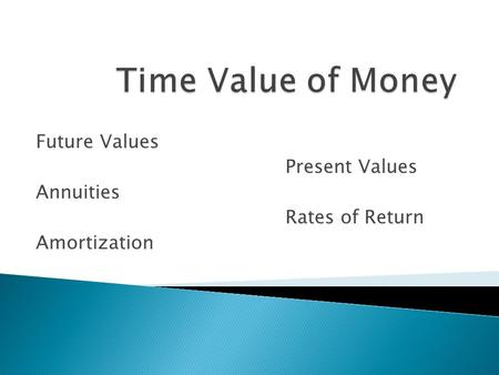 Future Values Present Values Annuities Rates of Return Amortization.