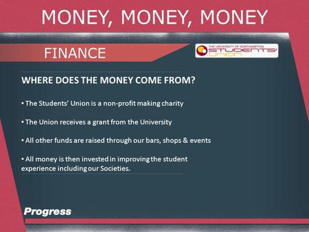 MONEY, MONEY, MONEY FINANCE WHERE DOES THE MONEY COME FROM? The Students Union is a non-profit making charity The Union receives a grant from the University.