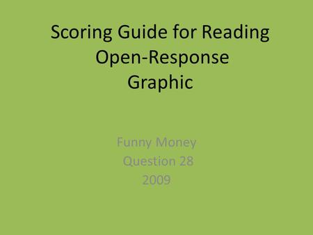 Scoring Guide for Reading