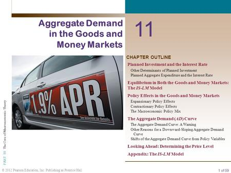 1 of 59 PART III The Core of Macroeconomic Theory © 2012 Pearson Education, Inc. Publishing as Prentice Hall CHAPTER OUTLINE 11 Aggregate Demand in the.