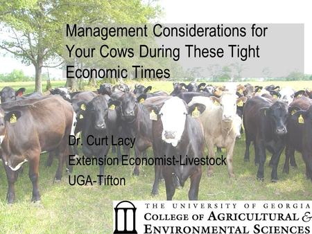 Management Considerations for Your Cows During These Tight Economic Times Dr. Curt Lacy Extension Economist-Livestock UGA-Tifton.