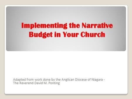 Implementing the Narrative Budget in Your Church