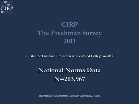 CIRP The Freshman Survey 2011 First-time Full-time Freshmen who entered College in 2011 National Norms Data N=203,967 Higher Education Research Institute,
