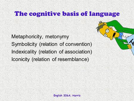 English 306A; Harris The cognitive basis of language Metaphoricity, metonymy Symbolicity (relation of convention) Indexicality (relation of association)