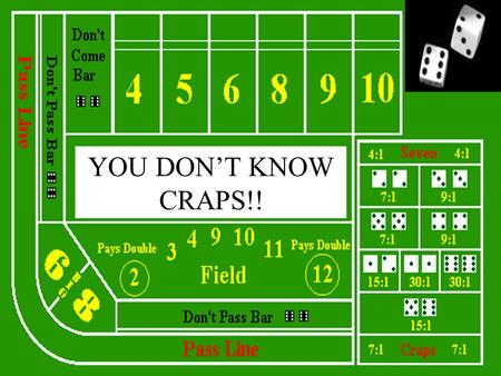 YOU DONT KNOW CRAPS!!. An Investigation Using Probability, the Geometric Distribution, and Expected Returns for the Game of Craps By Otto Magdanz and.