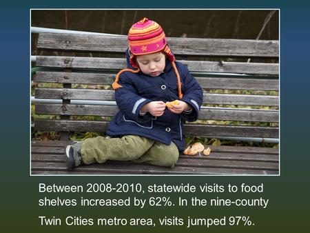 Between 2008-2010, statewide visits to food shelves increased by 62%. In the nine-county Twin Cities metro area, visits jumped 97%.