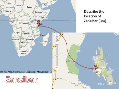 Describe the location of Zanzibar (3m). Zanzibar is located in the ______ Ocean, and is about __ km from the Tanzanian coast. The population is ___ k.