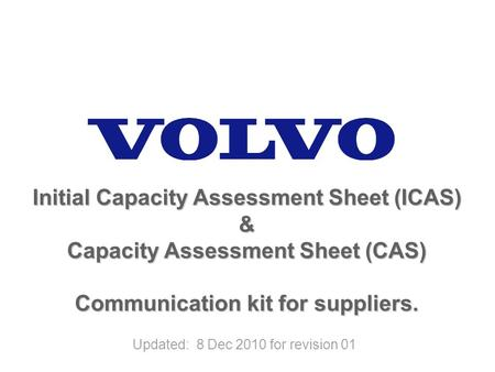 Initial Capacity Assessment Sheet (ICAS) &