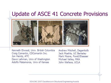 Update of ASCE 41 Concrete Provisions