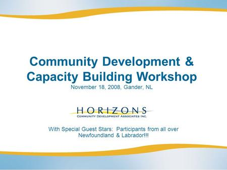 Community Development & Capacity Building Workshop November 18, 2008, Gander, NL With Special Guest Stars: Participants from all over Newfoundland & Labrador!!!