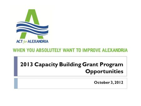 2013 Capacity Building Grant Program Opportunities October 3, 2012.