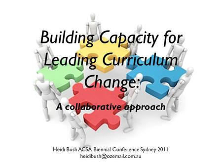Building Capacity for Leading Curriculum Change: A collaborative approach Heidi Bush ACSA Biennial Conference Sydney 2011
